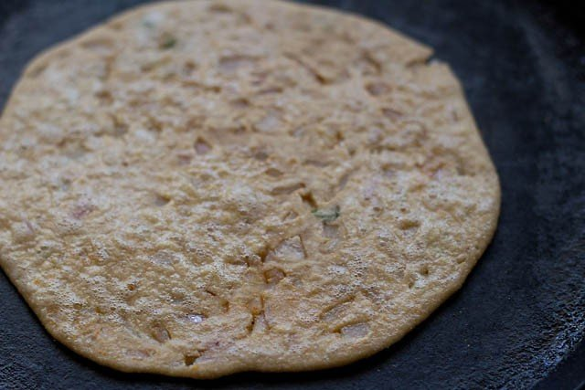 frying paratha - onion paratha recipe