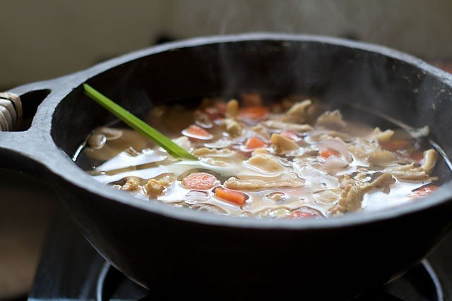 simmer the tofu soup