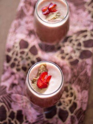 vegan strawberry almond milkshake