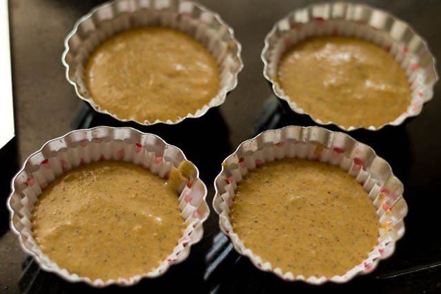 pour the batter in muffins cups