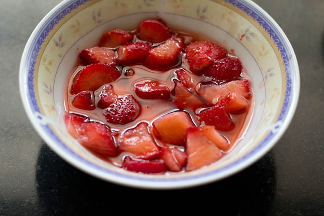macerated strawberries in a bowl