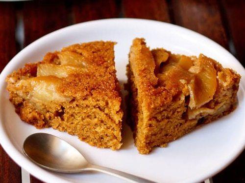 eggless apple upside down cake recipe