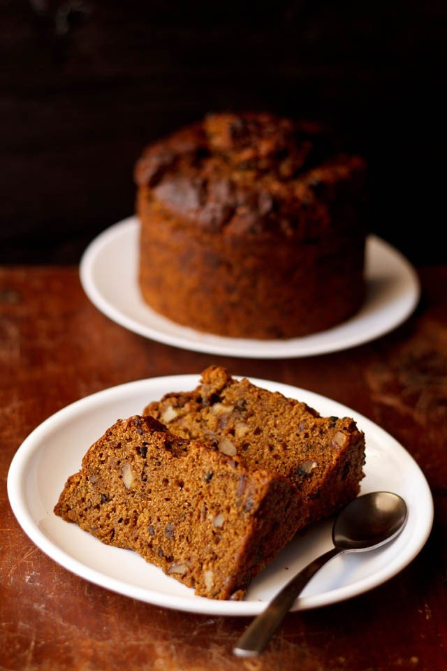 eggless dates walnut coffee cake