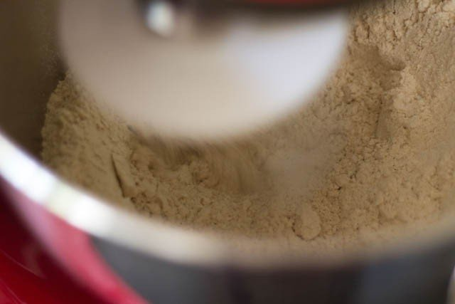 flours and salt in a stand mixer