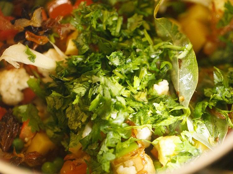 adding coriander (cilantro)