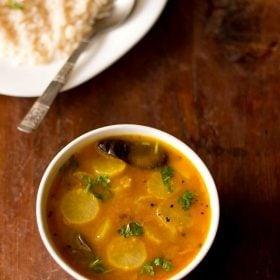 radish sambar served in a bowl