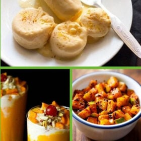 collage of four mango recipes with text layovers