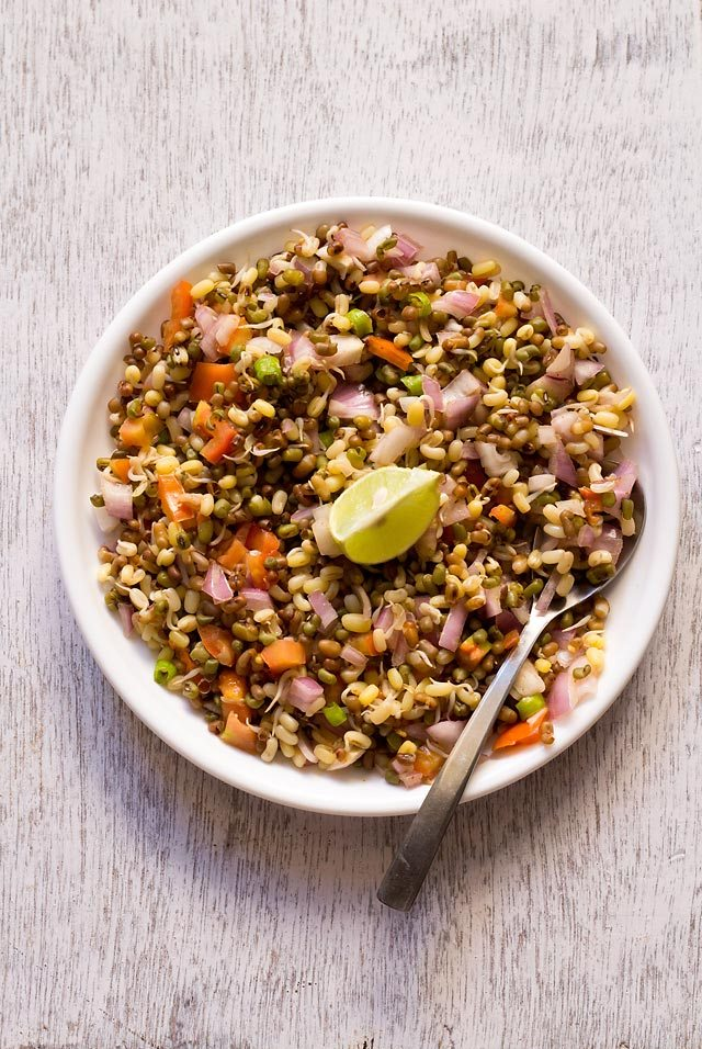 moong sprouts salad recipe, how to make moong sprouts salad recipe