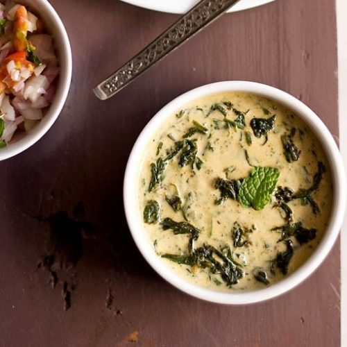 palak raita recipe, spinach raita recipe