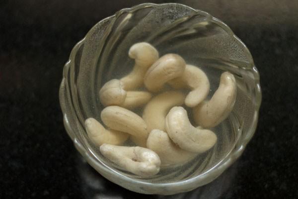 cashews soaking for paneer butter masala