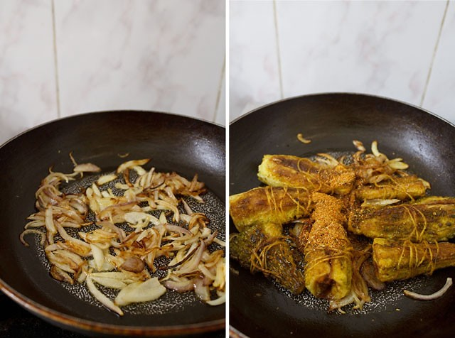 sauted onions for bharwan karela