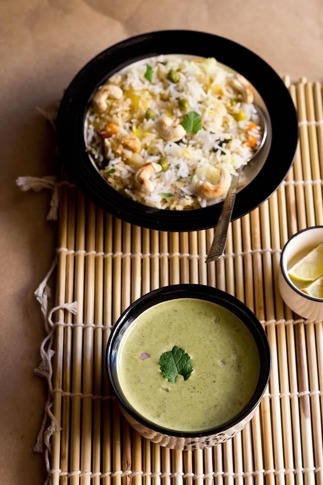 mint coriander raita recipe – mint coriander raita for veg biryani