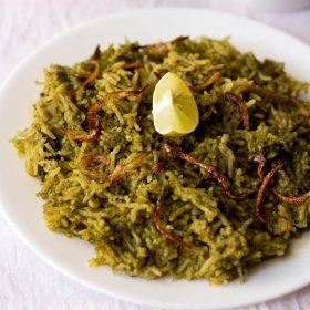 spinach biryani recipe, palak biryani recipe