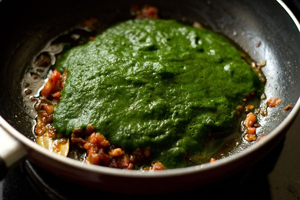 adding spinach puree in the pan