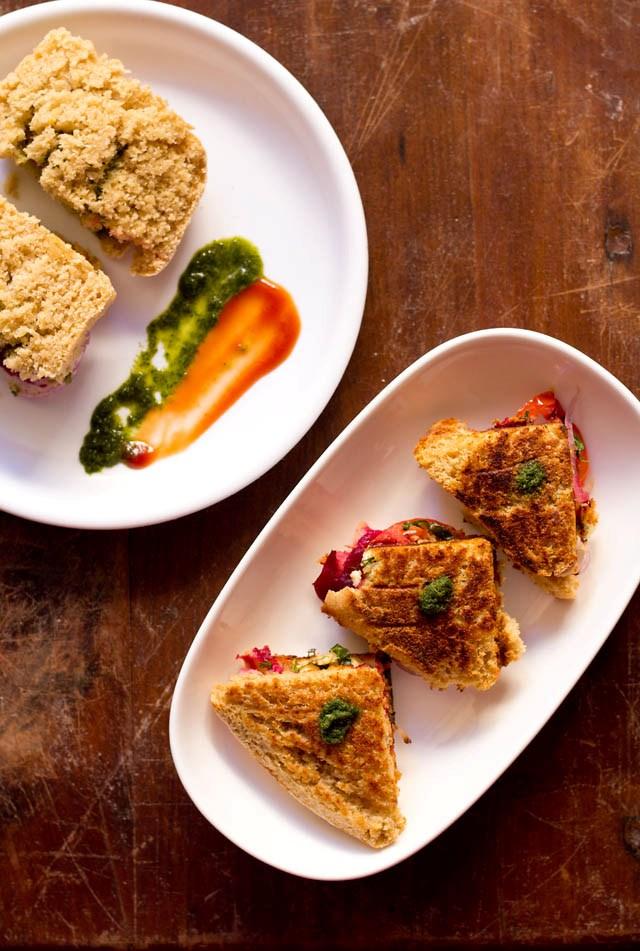 paneer sandwich recipe, how to make veg paneer sandwich recipe