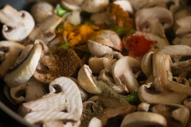 added spices for mushroom fry recipe