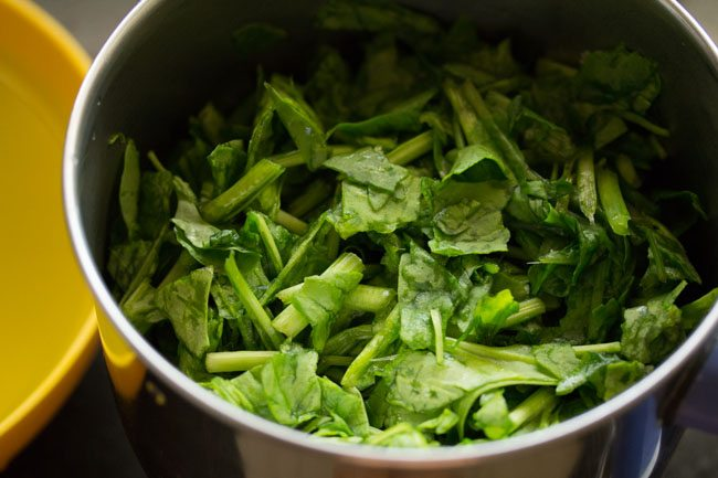 blanched spinach leaves to the blender