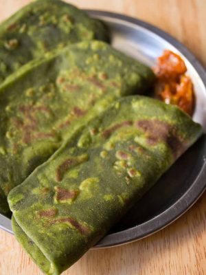palak paratha recipe, how to make palak paratha