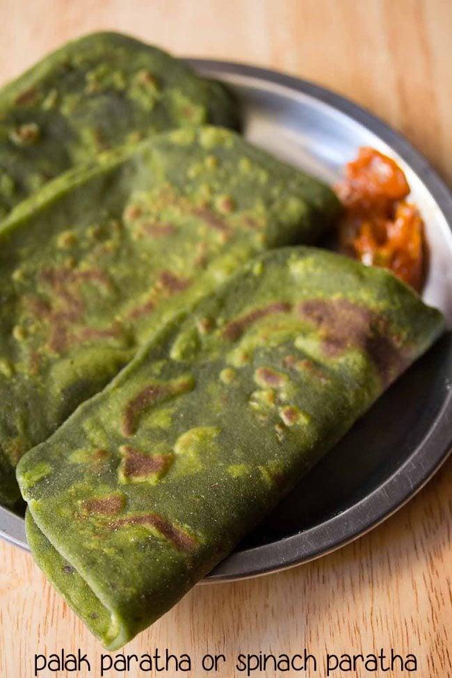 palak paratha, spinach paratha, palak paratha recipe