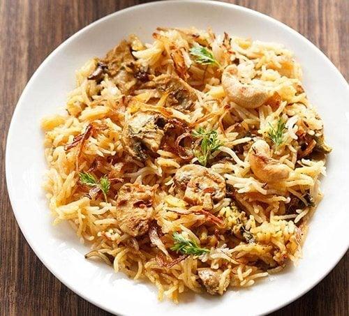 mushroom biryani recipe in pressure cooker
