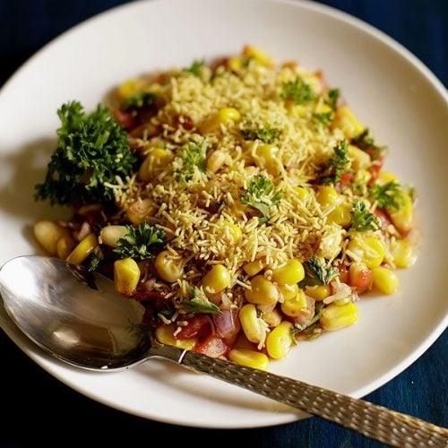corn chaat recipe, masala corn recipe, sweet corn chaat recipe
