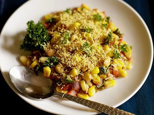 corn chaat recipe, masala corn recipe, spicy sweet corn chaat recipe