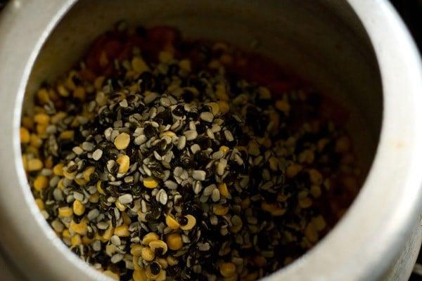 add dal to make maah chole di daal recipe