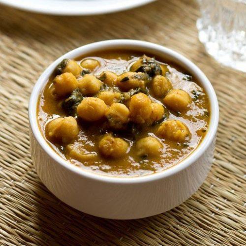 methi chole recipe, methi curry recipe