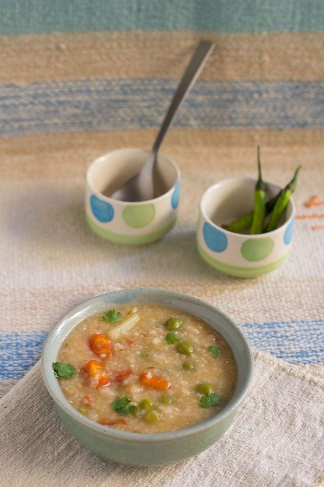 vegetable dalia recipe, how to make vegetable dalia | indian porridge