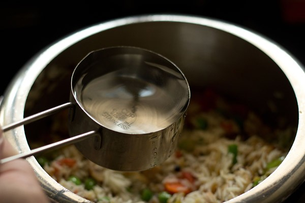 water for vegetable pulao recipe