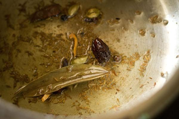 fry spices to make veg pulao recipe
