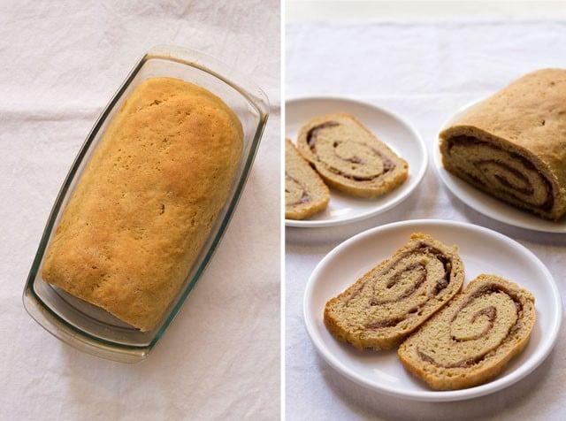 placed jam bread rolls in pan