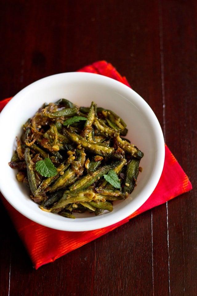 lahsuni bhindi, garlic bhindi
