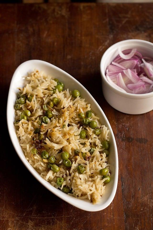 matar pulao recipe, peas pulao recipe, green peas pulao, green peas pulav