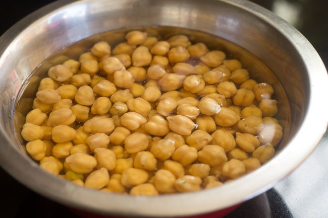 soaked chickpeas in a bowl