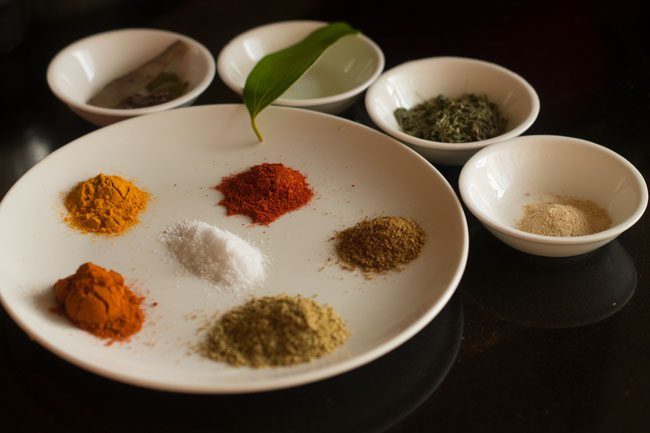 ingredients  for palak chole recipe in a bowl