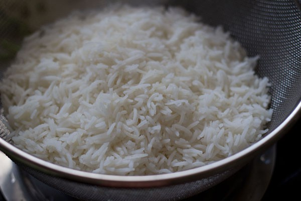 strain cooked rice
