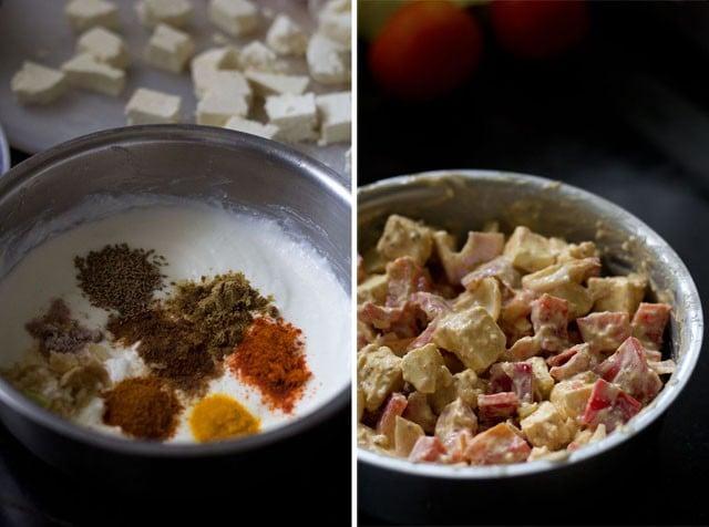 marinated mixture for paneer tikka pizza recipe