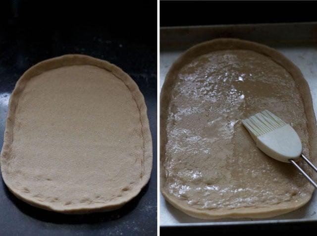 divide dough to make paneer tikka pizza recipe