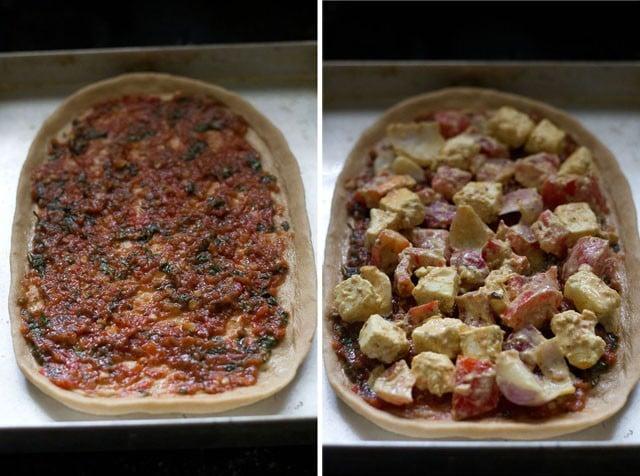 tomato pizza sauce on paneer tikka pizza base