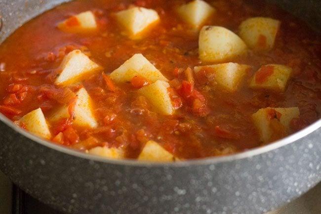 aloo tamatar sabzi recipe, potato tomato curry recipe, aloo tamatar recipe