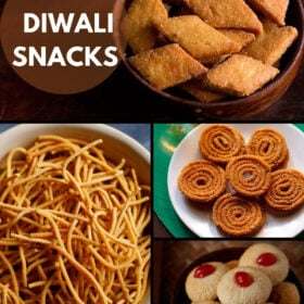 collage of four diwali snacks recipe