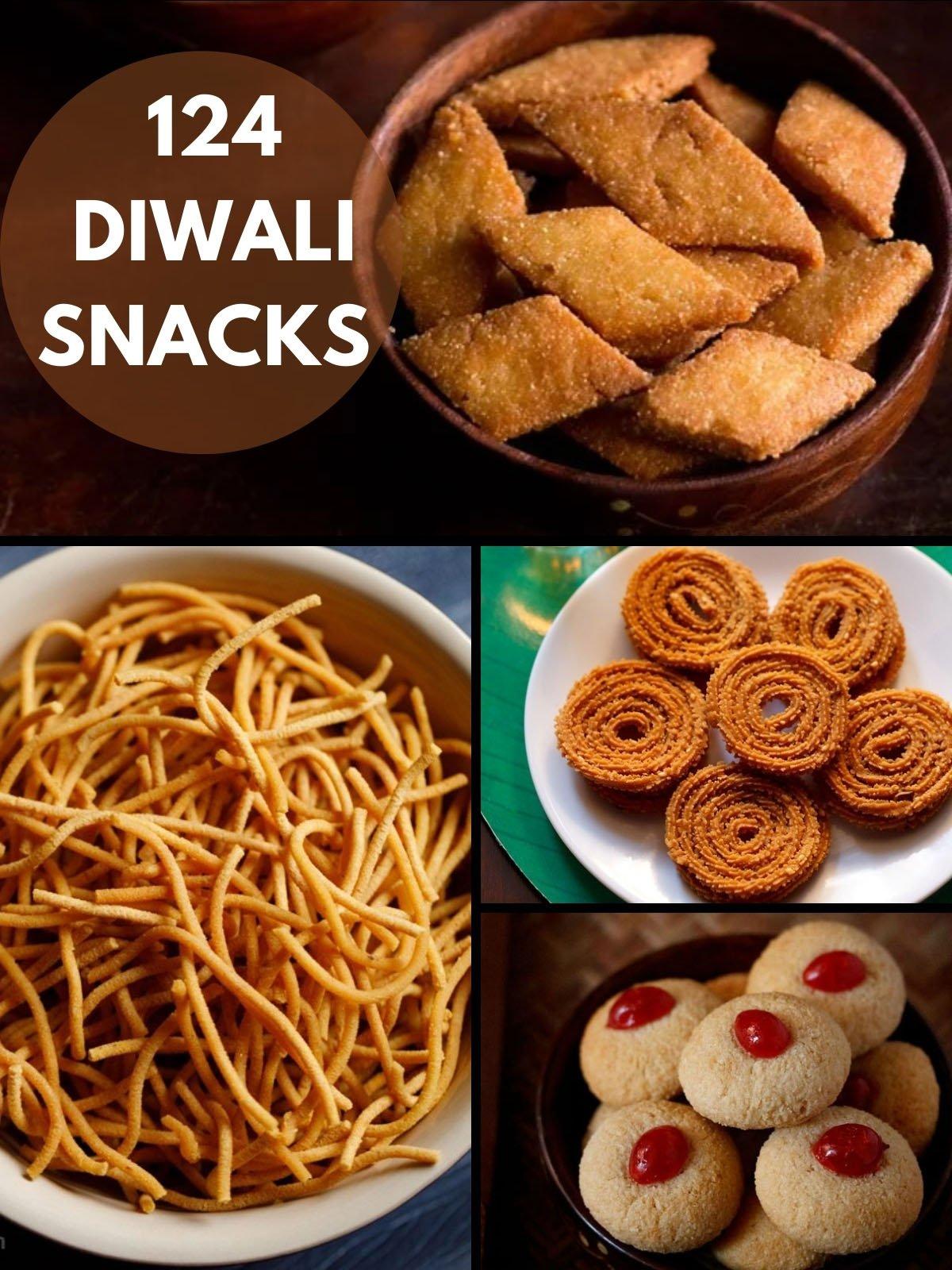 collage of four diwali snacks recipe
