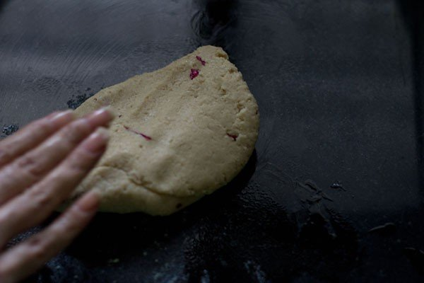 kneading the cashew katli dough