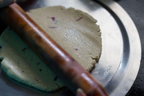 roll cashew or kaju dough