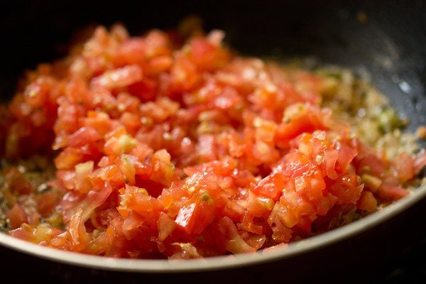 finely chopped tomatoes added