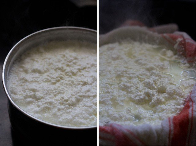 making paneer for sandesh recipe