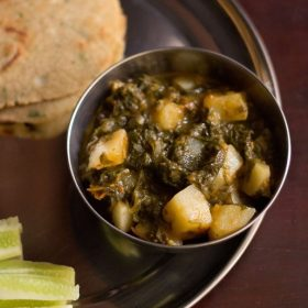 aloo palak recipe, spinach potato curry recipe