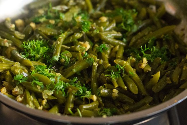 garnish french beans with coriander leaves