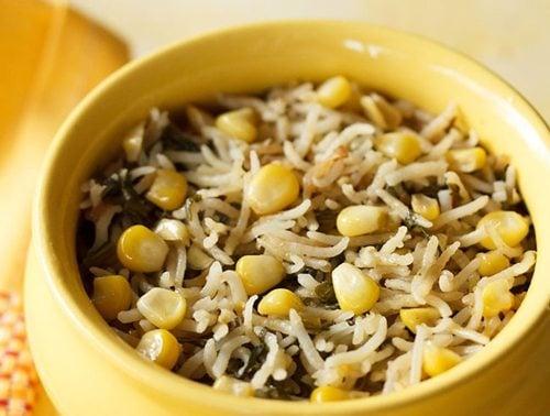 corn spinach pulao recipe